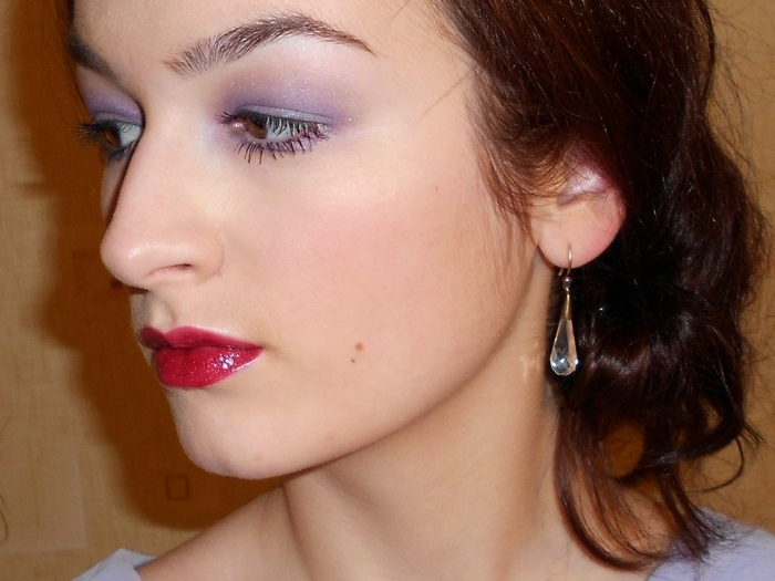 Burberry beauty sheer eye shadow №13 Lavender Blue and Avon perfect wear extralasting lipgloss # Lingering Plum (photos, swatches, look, make up)