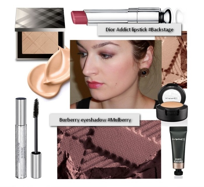 Set beauty-galaxy make up with Burberry eyeshadow #mulberry, Dior addict lipstick #backstage