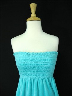 08aea4f6dc38 Juicy Couture Aqua Blue Smocked Terry Tube Dress x X-stitching across the  smocked area. x Tagged a size Small. x Retails for USD 110.00.