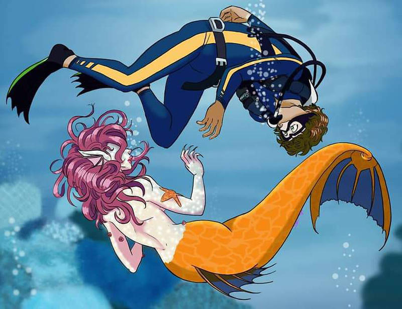 drawing_prompt_curious_mermaid_and_scuba_diver_by_szrozo_dcsfmpa-fullview