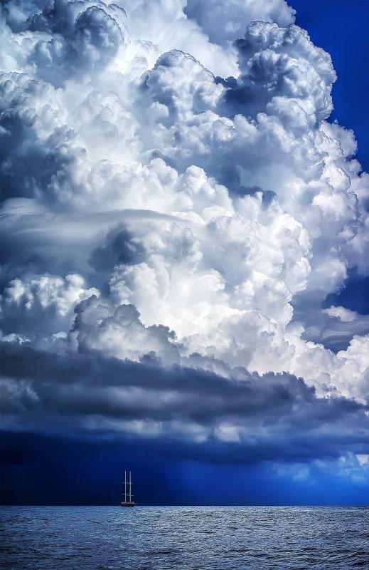 фотоарт облака, море, корабль