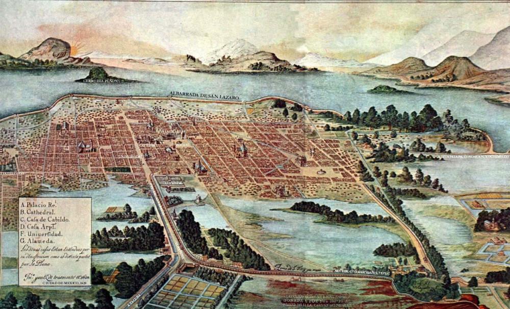 карта Мехико в 1628 году