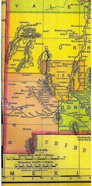карта -каблука- штата Нью-Мексико New Mexico Boot Heel