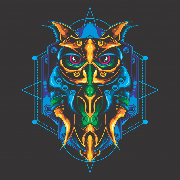 сова mystical-owl-sacred-geometry_54889-326
