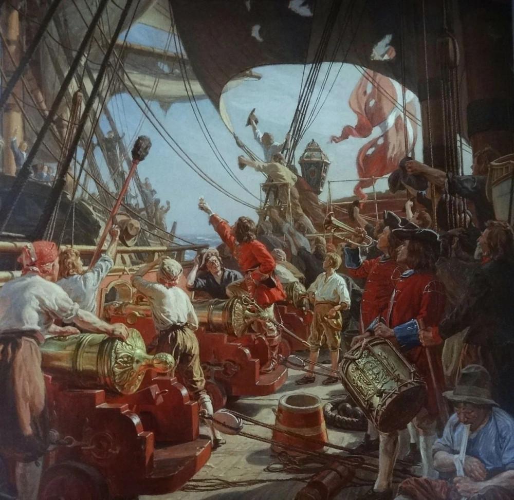 Вессель благодарит своего противника в бою 1715 года Художник Christian Mølsted