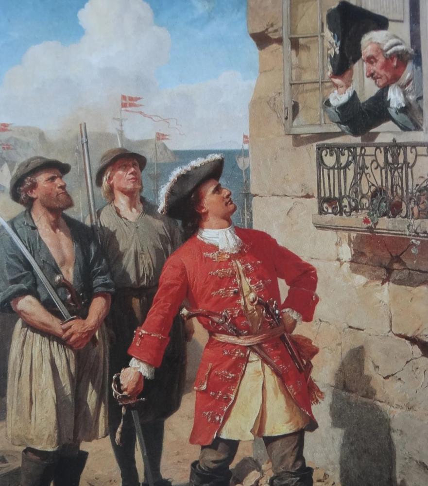 Адмирал Торденшельд говорит с комендантом шведского городка в 1719 году Художник Otto Bache