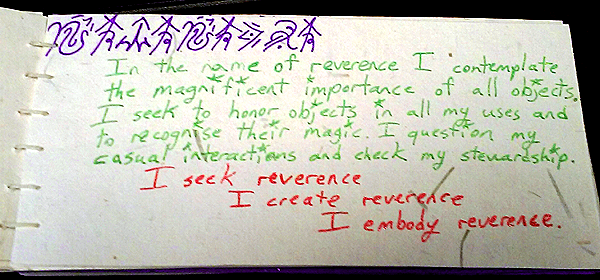 reverence value card