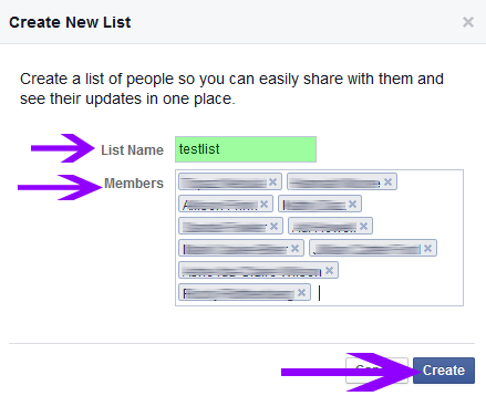 screenshot of facebook new list popup