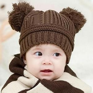 New-Baby-Love-Dual-Ball-Girls-Boys-Wool-Knit-Sweater-Cap-Hat-23357