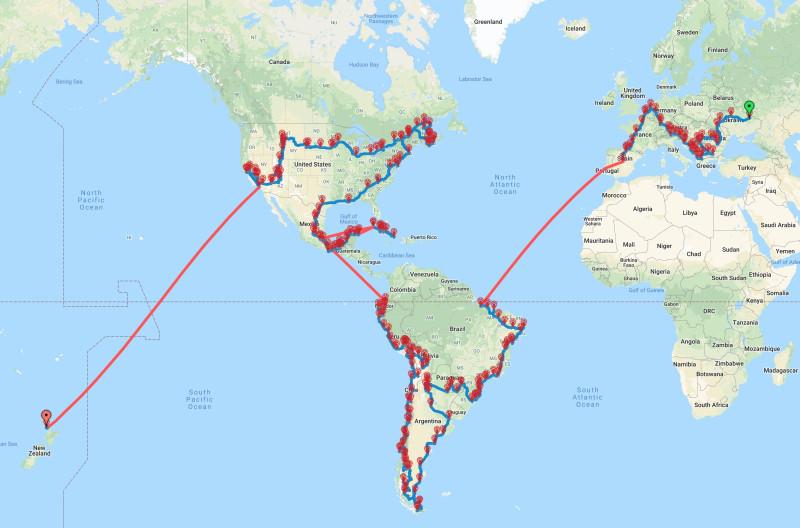 Маршрут нашей Кругосветки по Европе, Южной и Северной Америкам.