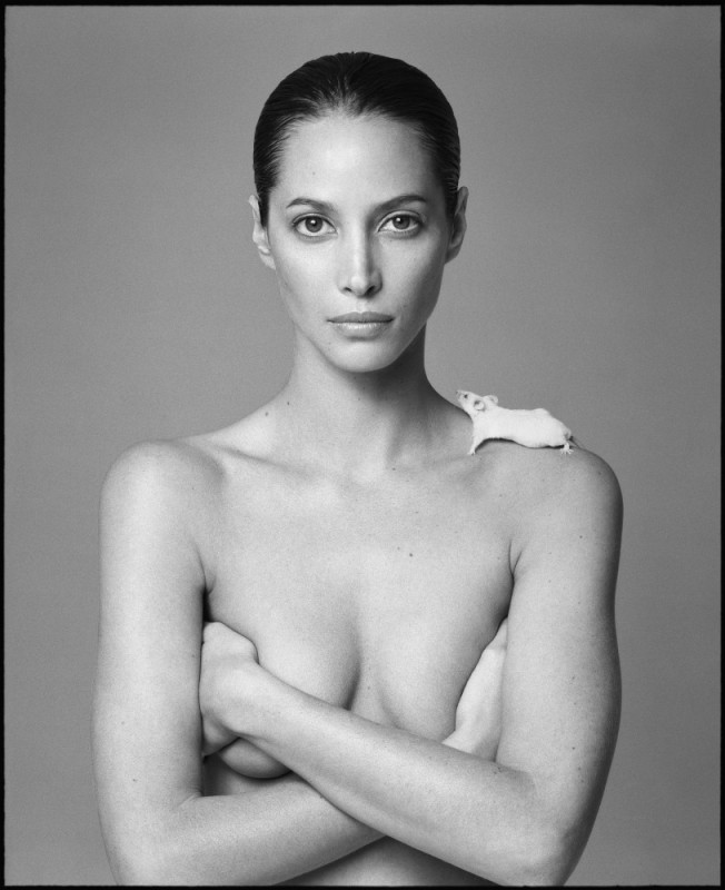 Christy Turlington and Mouse,1999  Photo By Patrick Demarchelier