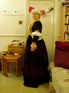 side view of bodice and sleeves