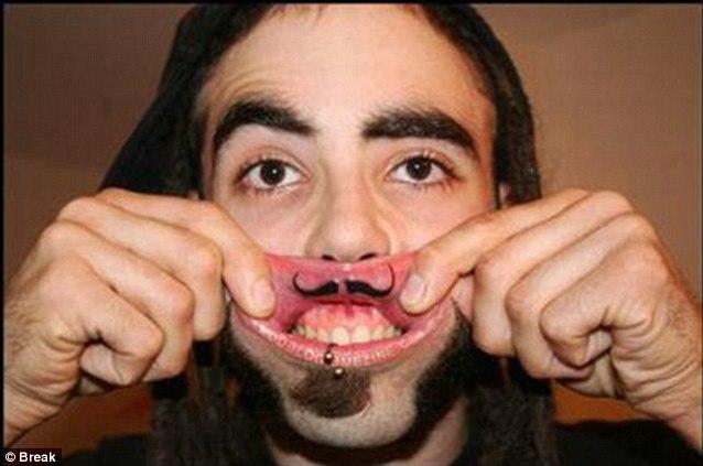 Тату на внутренней стороне губы