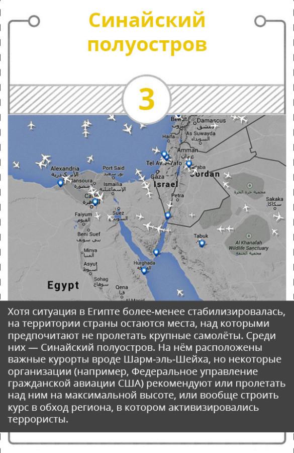 Территории, над которыми не летают самолеты