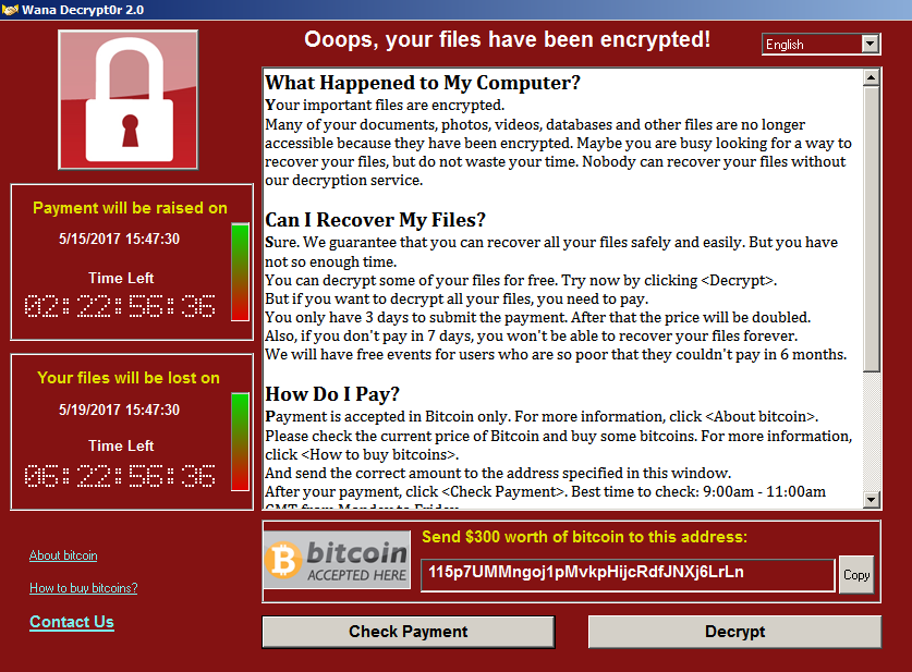 вирус WannaCry требует деньги