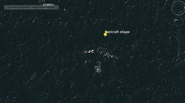 mh370 на картах Google Earth