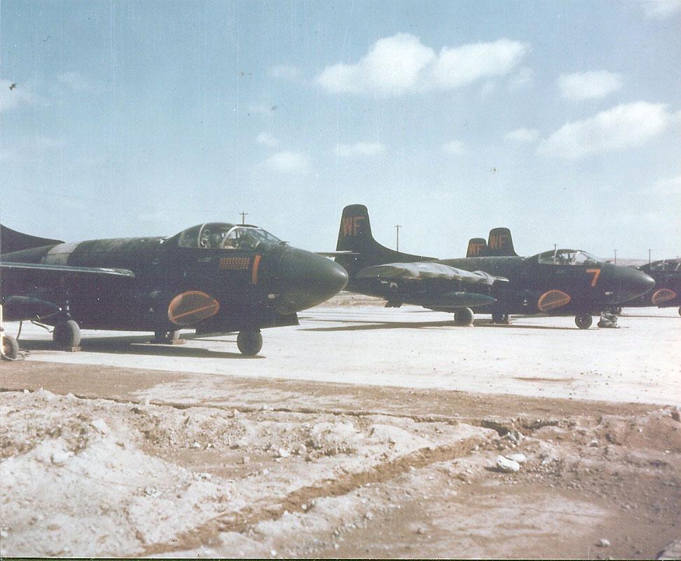 DouglasF3DSkyknightsofMarineSquadronVMFN-513-TheFlyingNightmaresareparkedonaflightlineatPyeongtaekKoreaK-6inthewinter