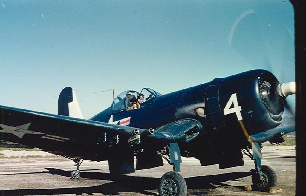 F4U-4BCorsairaircraftofHEDRON-12isonthegroundatK-1-1