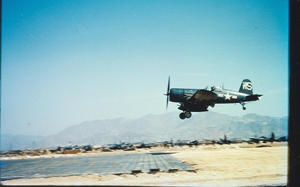 F4U-4BCorsairaircraftofVMF-323landingonfieldK-1inKorea