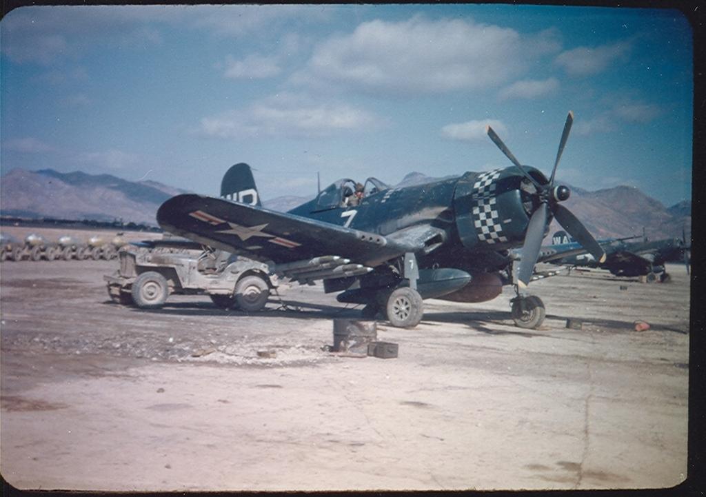 F4U-4CorsairaircraftofVMA-312isatK-1fieldinKoreain1951