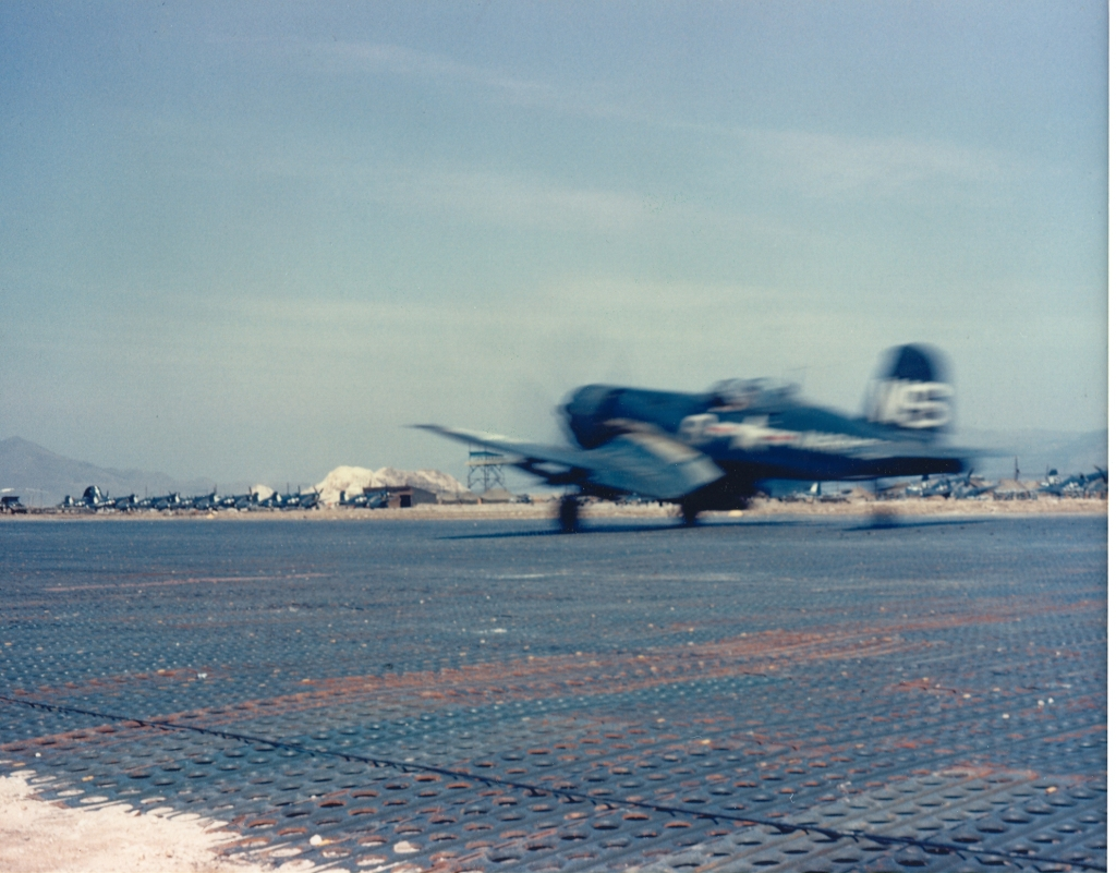 F4U-4CorsairaircraftofVMF-323takingoffatK-1PusanKorea