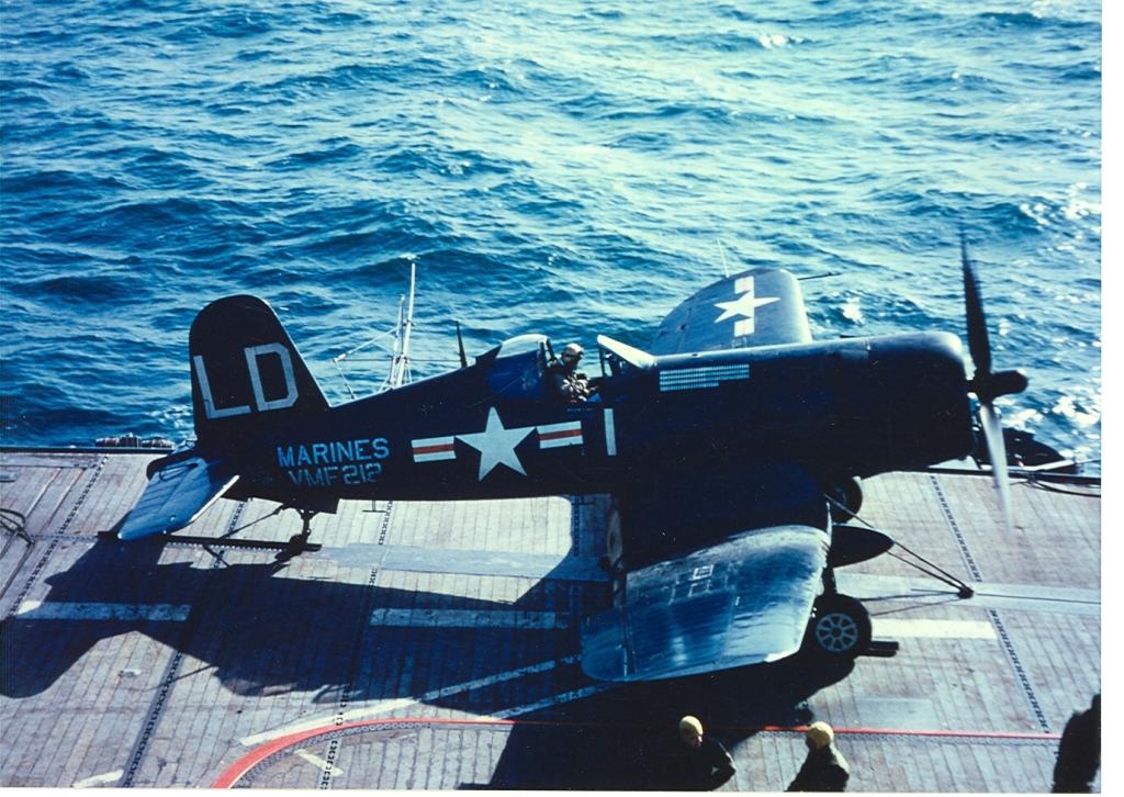 F4UCorsairaircraftofVMF-212isonthecatapultreadyforalaunchfromUSSBadoengStraitCVE-116oncombatstrikeinKorea