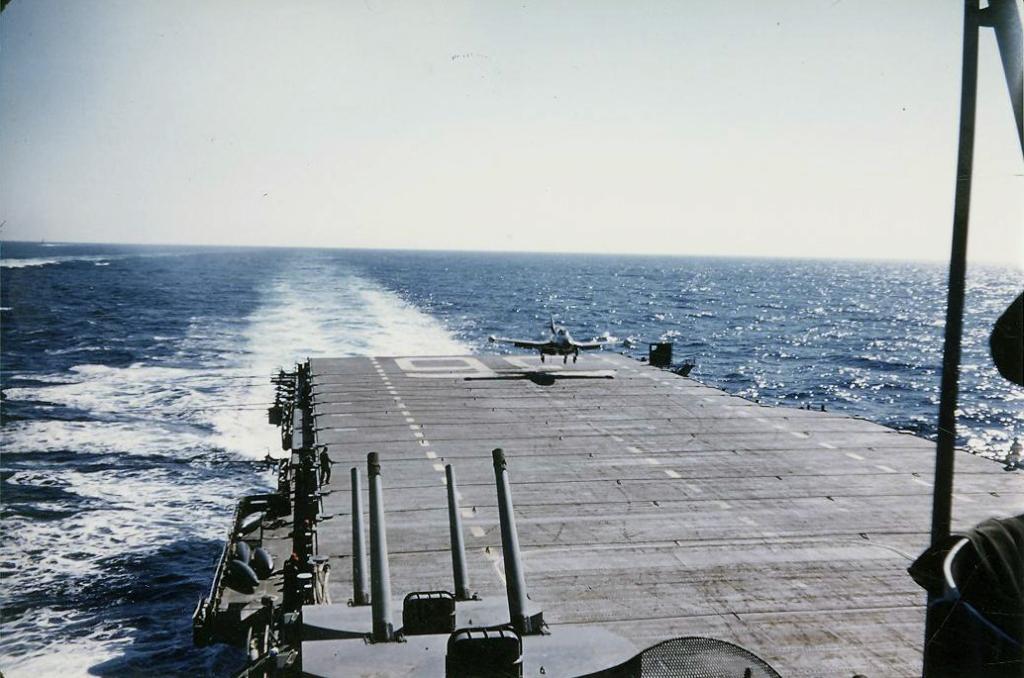 F9F-2BPantherassignedtoFighterSquadronVF837picturedjustaftertakingthecuttorecoveronboardthecarrierAntietam