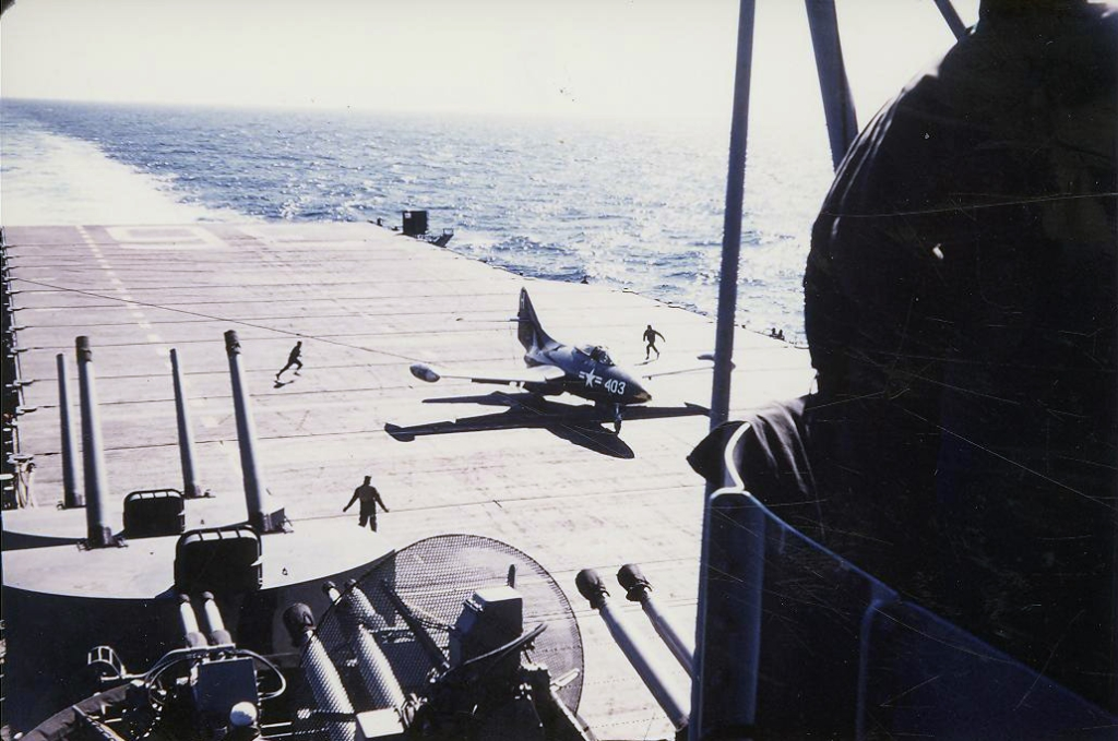 F9F-2BPantherassignedtoFighterSquadronVF837trapsonboardthecarrierAntietam