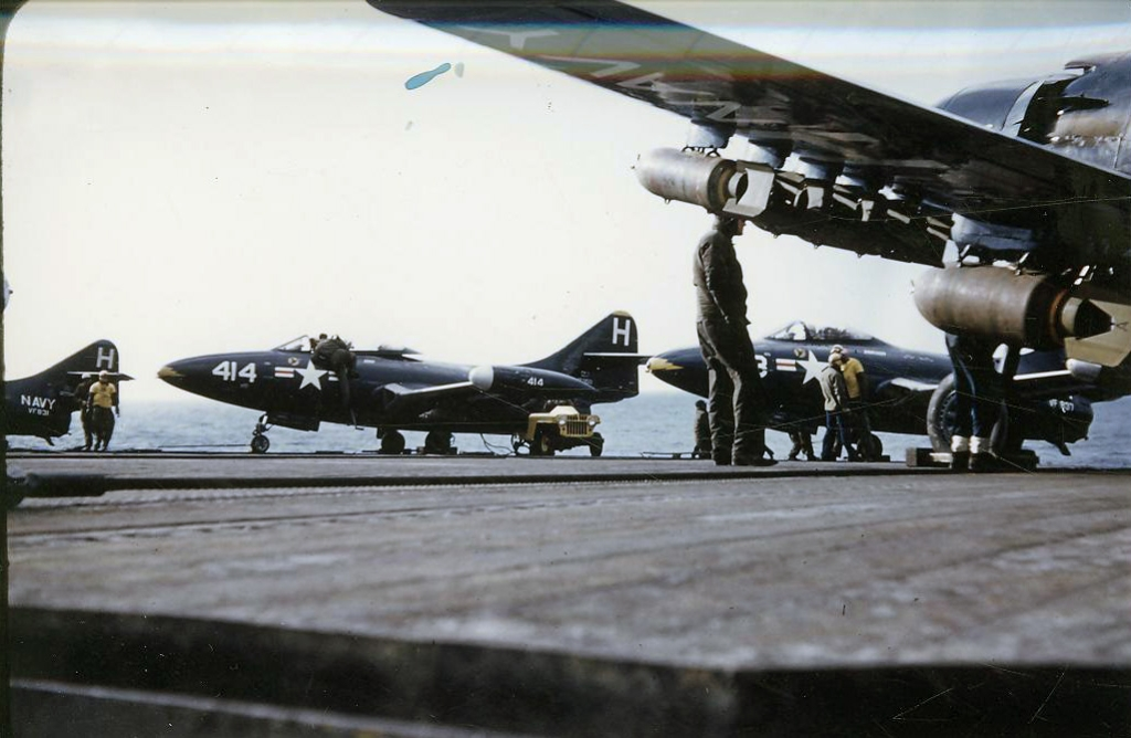 F9F-2BPanthersassignedtoFighterSquadronsVF831and837astheyreadytolaunchfromthecarrierAntietamCVA36forastrikeoverKorea