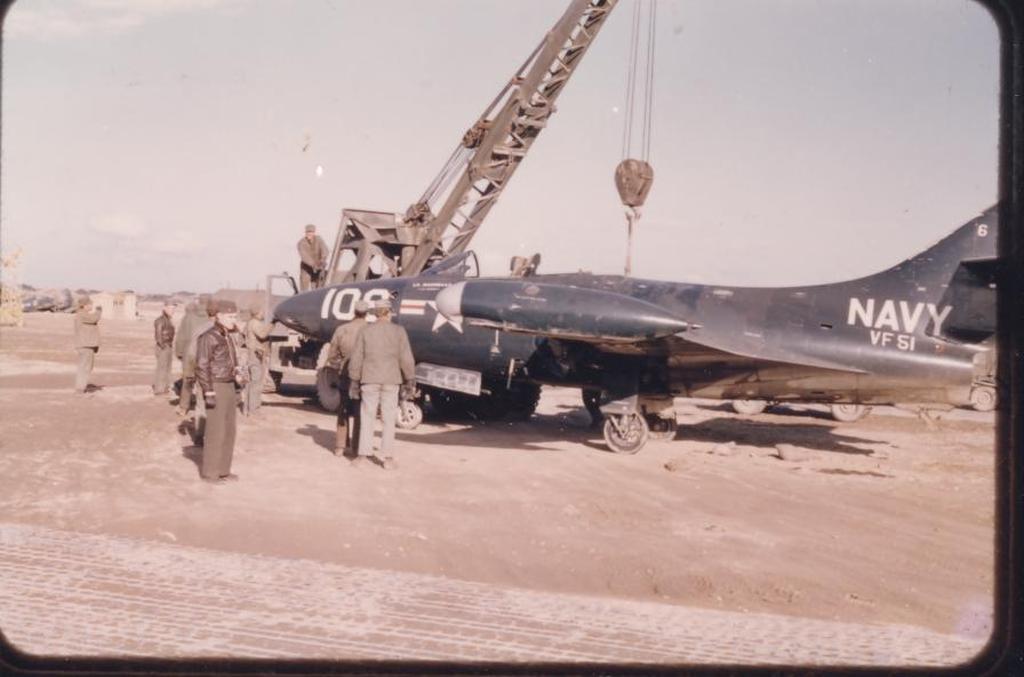 F9F-2PantheraircraftofVF-51goesthroughmaintenanceatK-1inKorea