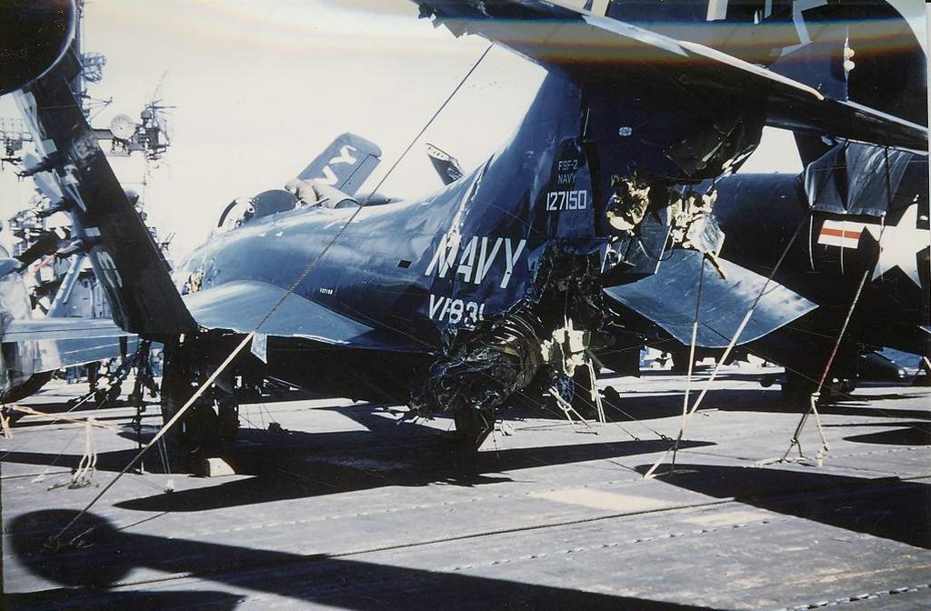 F9F-2PantherofFighterSquadronVF831itstailsectionheavilydamagedwhenitwashitbyanotherplaneattemptingtolandonboardthecarrierAntietam