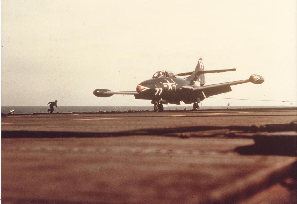 F9F-2PPantheraircraftofVC-61ontheUSSAntietamCV-36beingrecoveredafterflyingoverKorea