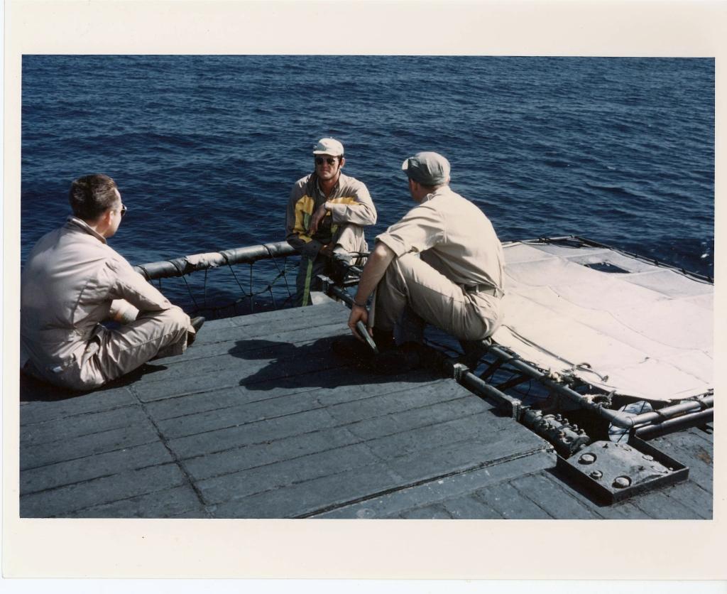 LandingSignalOfficersLSOpicturedaboardthecarrierSicilyCVE118offKorea