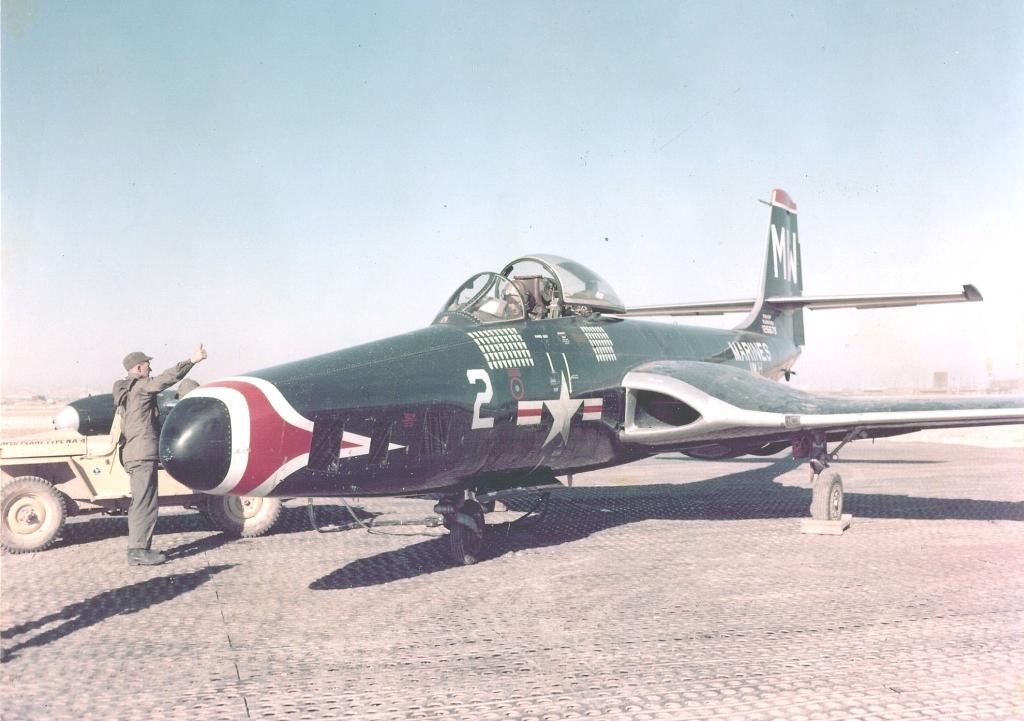 McDonnellDouglasF2H-2PBansheefromVMJ-1parkedandchockedonanairfieldinKorea
