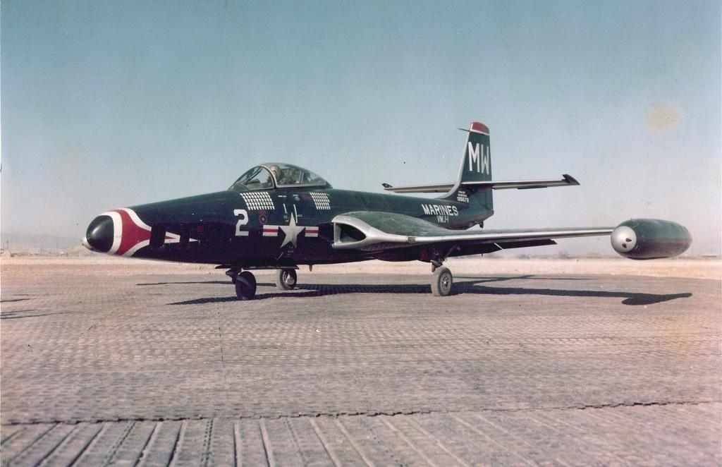 McDonnellDouglasF2H-2PBansheefromVMJ-1parkedonarunwayatanairbaseinKorea