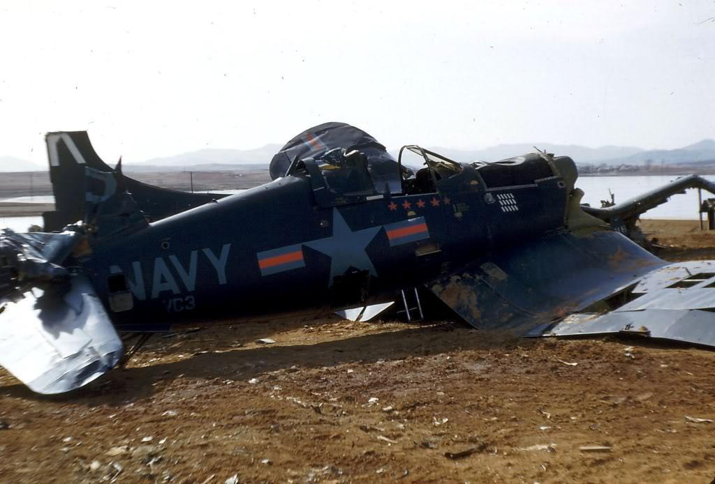 VC-3PilotLtGuyBordelonF4U-5CorsairandOtherWrecksK-6AirfieldLate1953-1