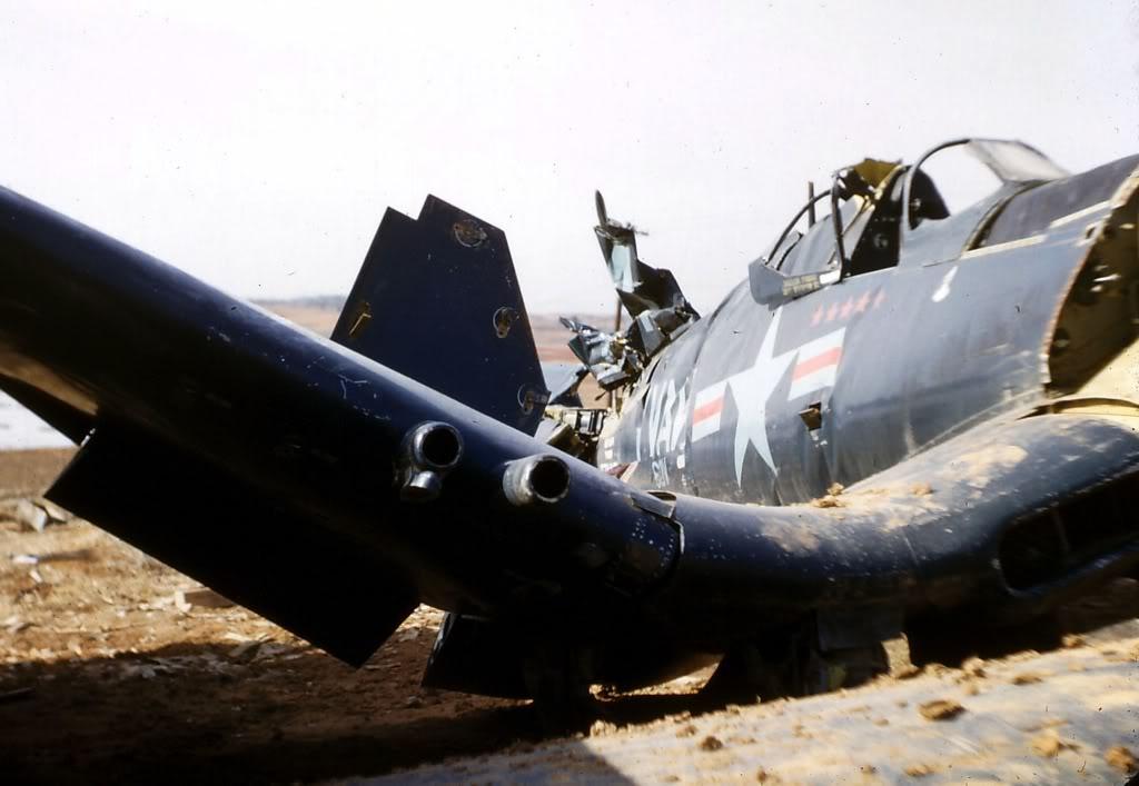 VC-3PilotLtGuyBordelonF4U-5CorsairandOtherWrecksK-6AirfieldLate1953-2