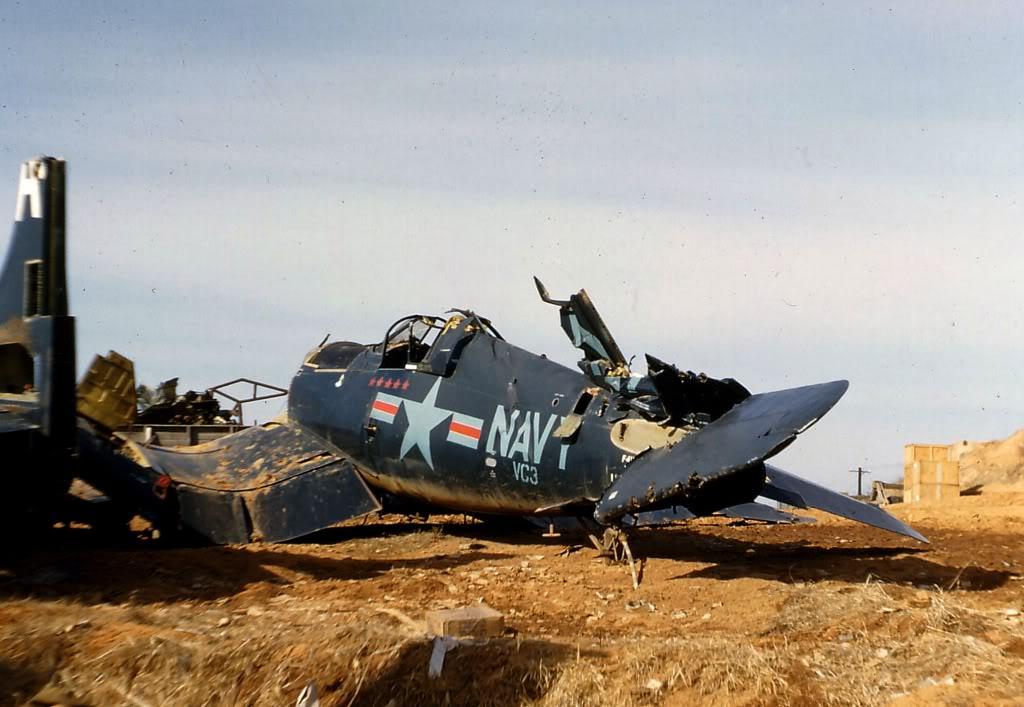 VC-3PilotLtGuyBordelonF4U-5CorsairandOtherWrecksK-6AirfieldLate1953