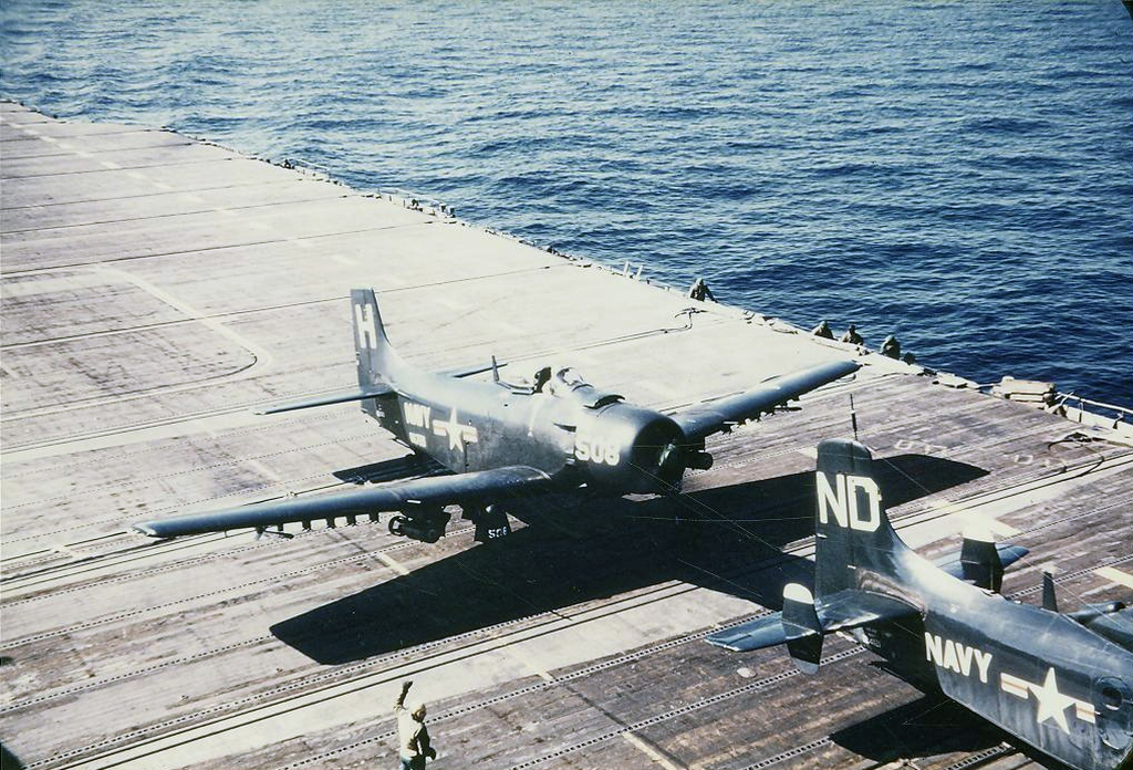 AD-4LSkyraiderofAttackSquadronVA728flownbyLTGehotrailsanAD-4WofCompositeSquadronVC11DetachmentDpriortolaunchingonanantisubmarinepatrolfr