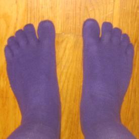 Purple toe socks.