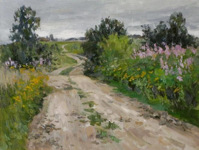 Дорог в деревню. Этюд, двп, масло, 2013