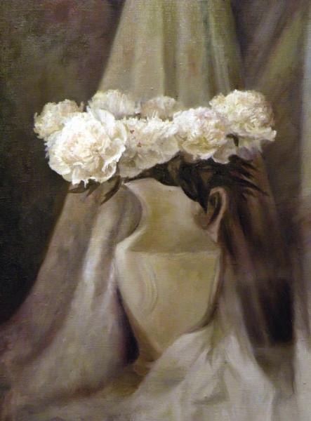 Бердник Светлана. Белые пионы в вазе. 2009