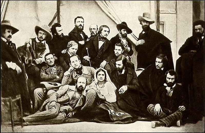Групповой портрет художников-пенсионеров Императорской академии художеств в Риме, снятый Сергеем Львовичем Левицким в 1845 году.