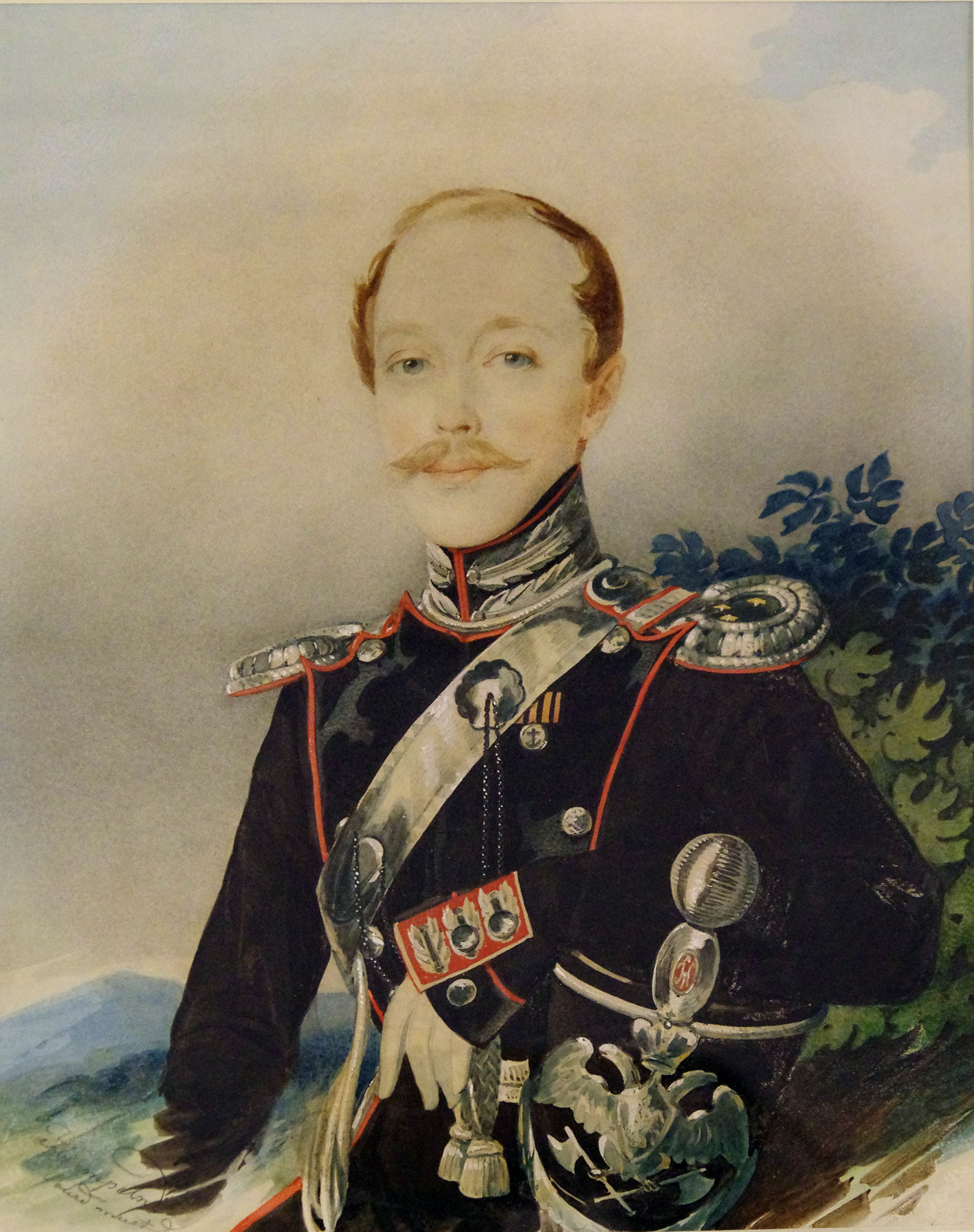 Портрет поручика лейб-гвардии Конно-пионерного эскадрона Федора Петровича Глебова-Стрешнева работы художника Карла Гампельна, середина 1830-х годов.
