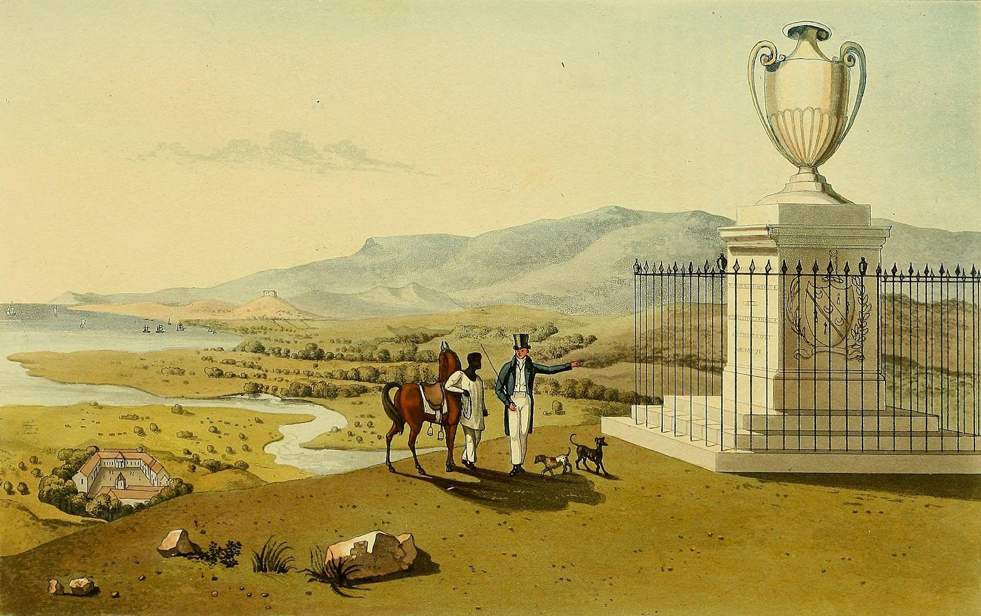 Акварель из альбома Джеймса Хейквилла с изображением монумента на месте захоронения Томаса Хибберта-старейшего на вершине холма. Рисунки выполнены в 1820-21 годах, альбом издан в издательстве Харт и Робинсон в Лондоне в 1825 году.