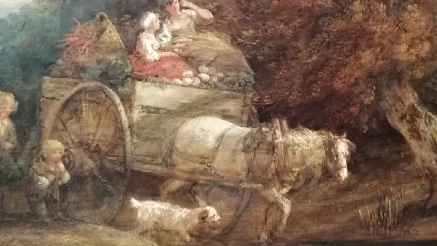 """Фрагмент картины Рыночная повозка - у одной лошади """"двоит"""" дуга и просматриваются еще две головы"""