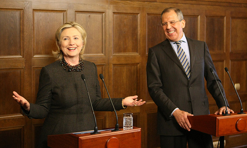 U.S. Secretary of State Hillary Rodham Clinton and Foreign Minister Lavrov speak during a press conference in Moscow, March 19, 2010. [State Department Photo/Public Domain]
