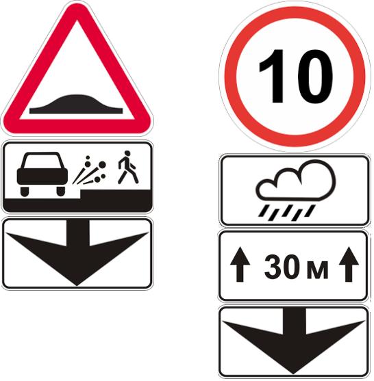 Дорожные знаки во время дождя