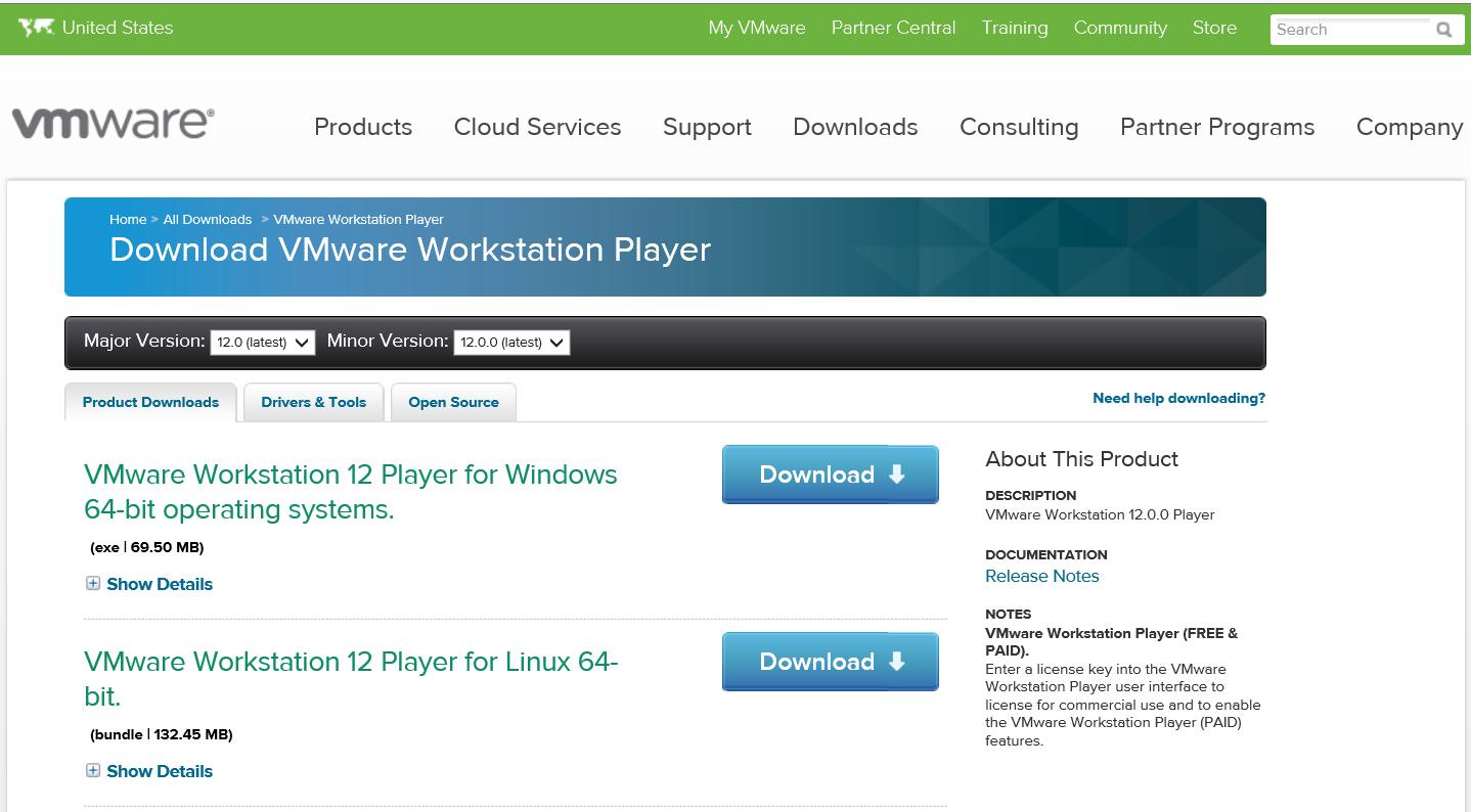 Установка VMware Workstation 12 Player for Windows 64-bit