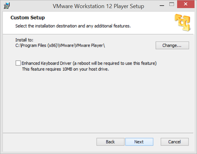 vmware player 12 enhanced keyboard driver